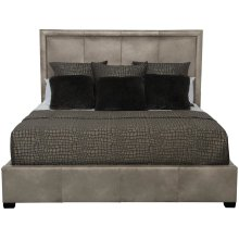 """Queen-Sized Morgan Leather Panel Bed (54"""" H) in Espresso"""