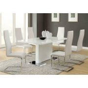 Contemporary White and Chrome Dining Chair Product Image