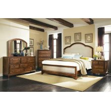 Laughton Rustic Brown Upholstered Queen Bed
