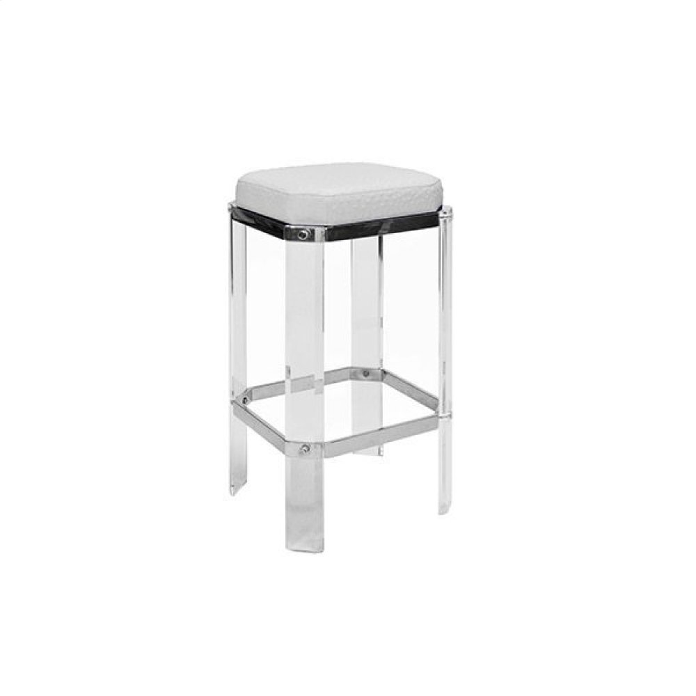 Acrylic Counter Stool With Nickel Accents & White Ostrich Cushion
