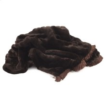 Throw Mink Brown with Fringe