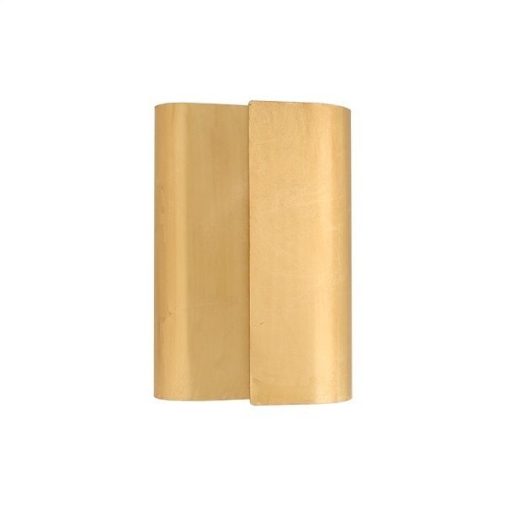 Sculptural Metal Wall Sconce In Gold Leaf Ul Approved for 2 40w Bulbs