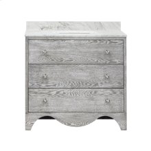 """Bath Vanity With White Marble Top In Grey Cerused Oak With Nickel Hardware Features: - White Porcelain Sink Included - Optional White Carrara Marble Backsplash Included - for Use With 8"""" Widespread Faucet (not Included) - Two Working Drawers"""