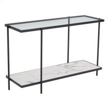 Winslett Console Table Clear, White & Matte Black