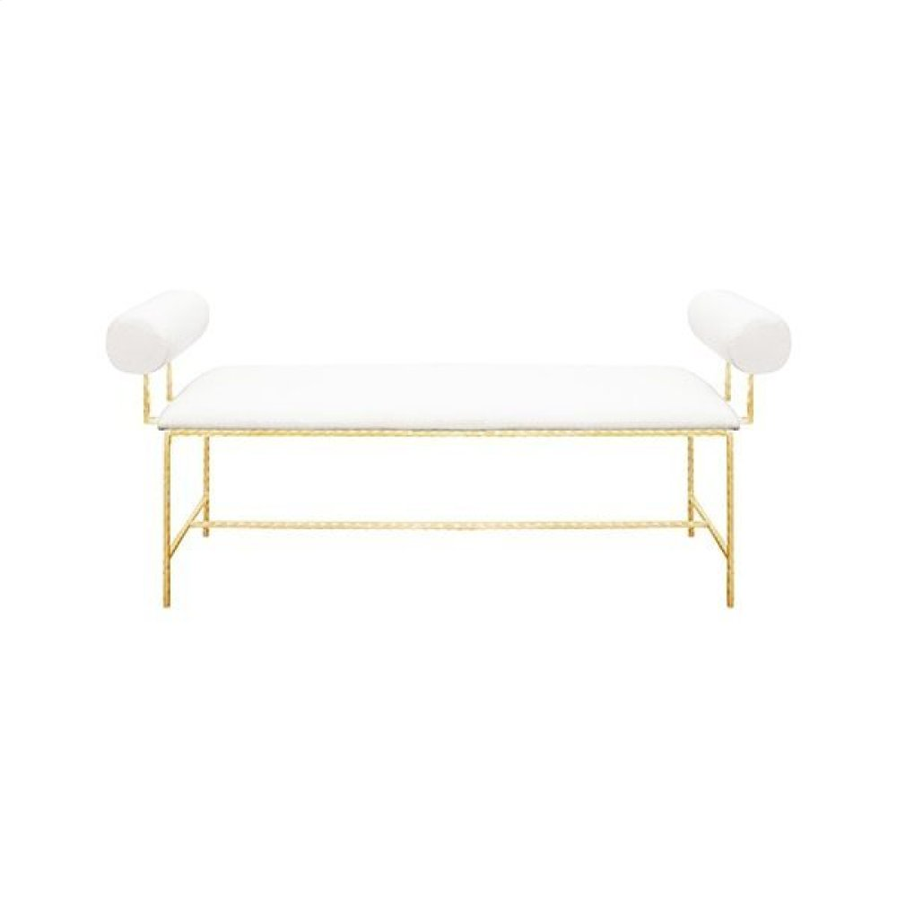"""Bolster Arm Gold Leaf Bench In White Linen - Seat Height 17"""""""