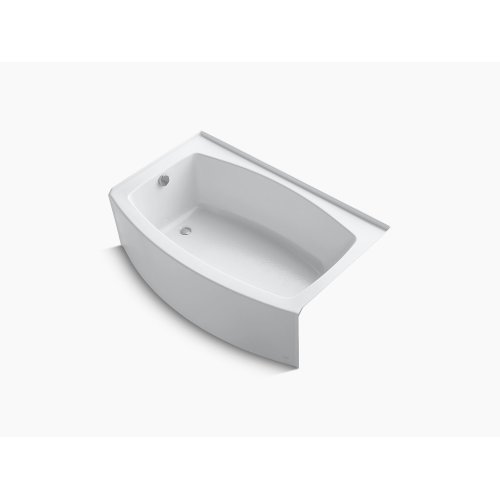 """White 60"""" X 32-38"""" Curved Alcove Bath With Integral Flange and Left-hand Drain"""