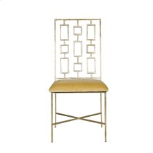 """Silver Leaf Dining Chair W. Beige Velvet Seat Seat Height - 18.5"""""""