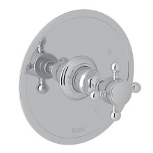 Polished Chrome Italian Bath Pressure Balance Trim Without Diverter with Cross Handle
