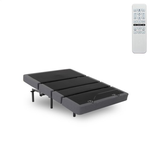 Plymouth Adjustable Bed Base with Full Bed Tilt and Sectioned Upholstery, Gray Finish, Queen