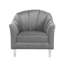 Channel Back Lounge Chair In Grey Velvet