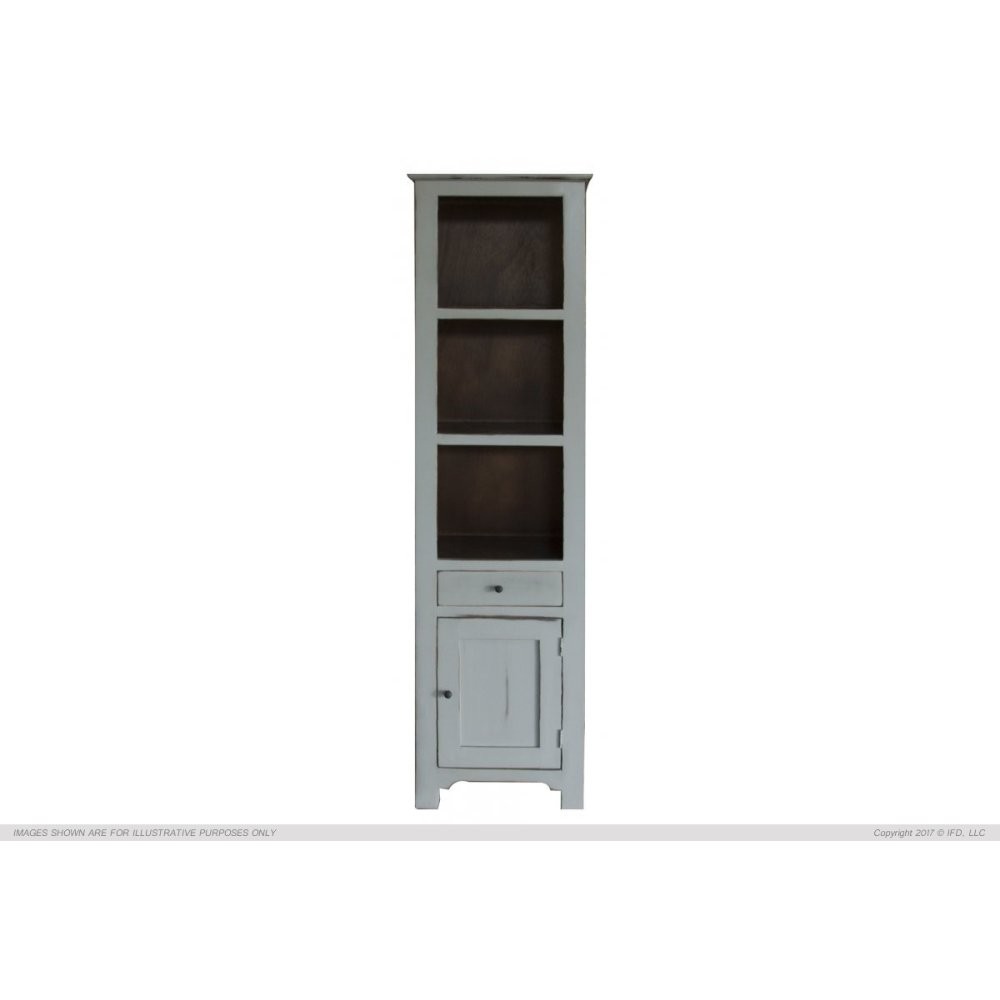1 Drawer, 1 Door & 3 Shelves Bookcases, Ligh Gray finish