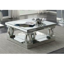Contemporary Silver Mirrored Coffee Table