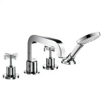 Chrome 4-hole tile mounted bath mixer with cross handles and escutcheons 1.75 GPM