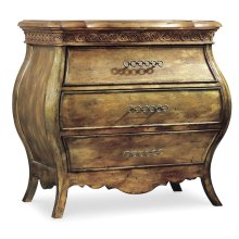 Bedroom Sanctuary Small Three Drawer Bombe Nightstand-Bling