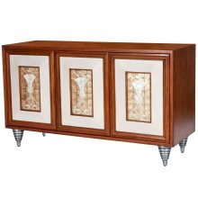 Rich elegance of the attention to detail on this stylish sideboard. Just enjoy the leather paneled door panels that are framing the interior design of the Capiz Shells to create a statement for all. The Maple wood veneers and Gemelina wood solids offer