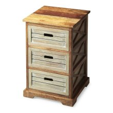 """This charming chairside chest offers three drawers for convenient storage and open """"X side supports for a modern aesthetic. Handcrafted from mango hardwood solids and wood products, it features a two-tone finish of washed and natural wood tones."""