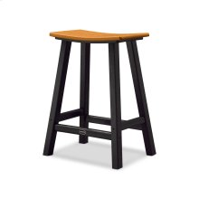 "Black & Tangerine Contempo 24"" Saddle Bar Stool"