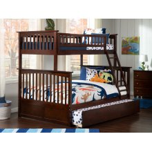 Columbia Bunk Bed Twin over Full with Urban Trundle Bed in Walnut