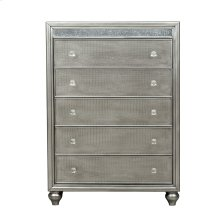Silver Luxe Mirror Trim 5 Drawer Chest