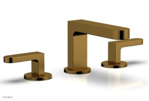 ROND Widespread Faucet - Lever Handles Low Spout 183-05 - French Brass Product Image