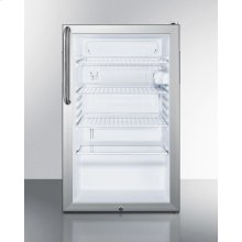 "Commercially Listed 20"" Wide Glass Door All-refrigerator for Freestanding Use, Auto Defrost With A Lock, White Cabinet, and Pro Towel Bar Handle"