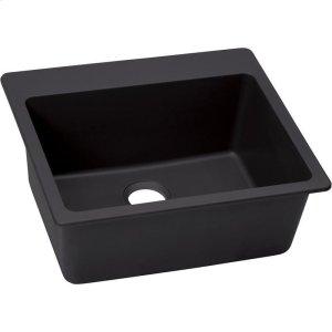 "Elkay Quartz Luxe 25"" x 22"" x 9-1/2"", Single Bowl Drop-in Sink, Caviar Product Image"
