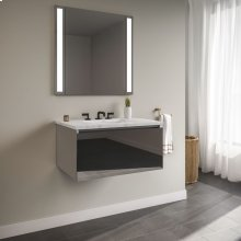 "Curated Cartesian 36"" X 15"" X 21"" Single Drawer Vanity In Tinted Gray Mirror Glass With Slow-close Plumbing Drawer and Engineered Stone 37"" Vanity Top In Silestone Lyra"