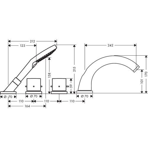 Chrome 4-hole tile mounted thermostatic bath mixer with zero handles