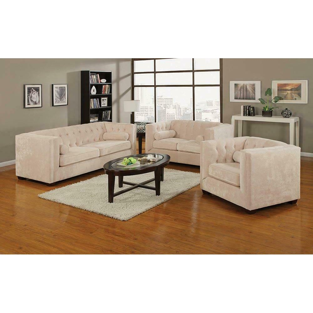 Alexis Transitional Almond Sofa