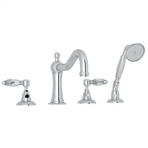 Polished Chrome Acqui 4-Hole Deck Mount Column Spout Tub Filler With Handshower with Crystal Lever Product Image