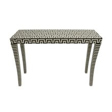 Black and Off White Resin Console Table
