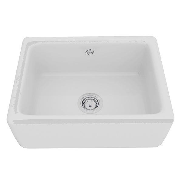 White Shaws Original Lancaster Single Bowl Farmhouse Apron Front Fireclay Kitchen Sink