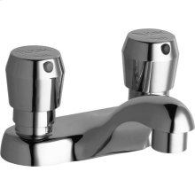 "Elkay Single Hole Deck Mount Metered Lavatory Faucet with 4"" Cast Fixed Spout Push Button Handles Chrome"