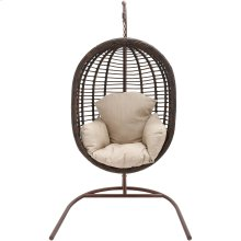 Outdoor Wicker Pod Swing with Full Cream Cushion