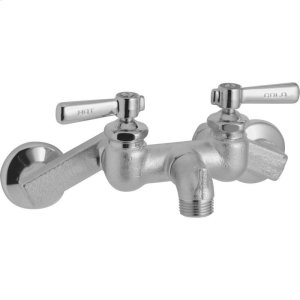 """Elkay 4""""-8-3/8"""" Adjustable Centers Wall Mount Faucet with Bucket Hook Spout 2"""" Lever Handles Rough Chrome Product Image"""