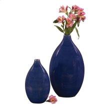 Cobalt Blue Glaze Ceramic Vases - Set of 2