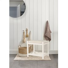 Amelia Wood Non-swivel Vanity Stool - White