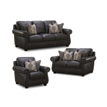 H044 WESTWOOD: Leather Loveseat w/ 4 Pillows (MFG# H044-20-03-MG0A)