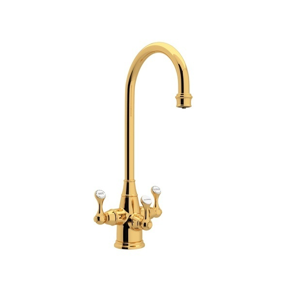 English Gold Perrin & Rowe Georgian Era Filtration 3-Lever Bar/Food Prep Faucet with Etruscan Metal Lever