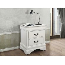 Louis Philippe White Two-drawer Nightstand