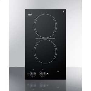 115v Two-burner Cooktop In Black Ceramic Glass, Made In Europe Product Image
