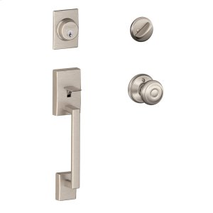 Century Single Cylinder Handleset and Georgian Knob - Satin Nickel Product Image