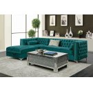 Bellaire Contemporary Teal and Chrome Sectional Product Image