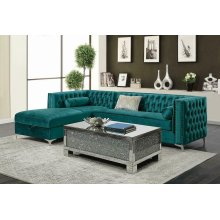 Bellaire Contemporary Teal and Chrome Sectional