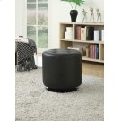 Contemporary Black Round Ottoman Product Image