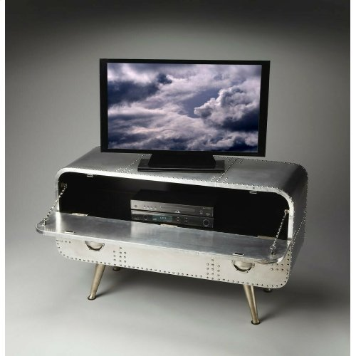 Crafted from polished alumninum, this shimmering and very practical Console Chest features abundant storage inside the drop-down top door held open at 90 degrees by matching chains and inside the large bottom drawer. Notice how the exquisitely tapered leg