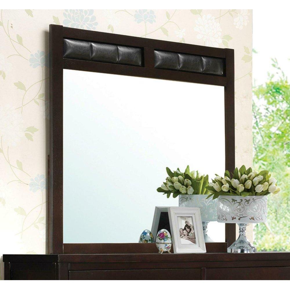 Carlton Black Upholstered Dresser Mirror