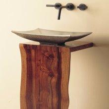 Wood L-slab Pedestal Sustainable Hardwood / 30inch