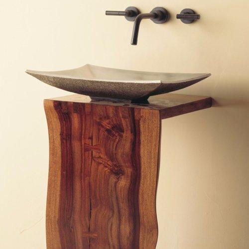Wood L-slab Pedestal Sustainable Hardwood / 32inch