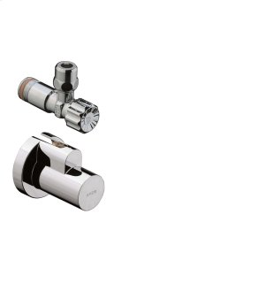 Chrome Angle valve with cover outlet G 3/8 Product Image